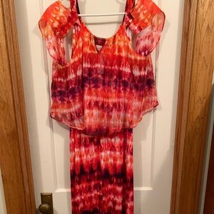 Multi-color maxi dress with cold shoulder cover